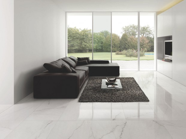 Contemporary Room Design White Porcelain Tile Flooring