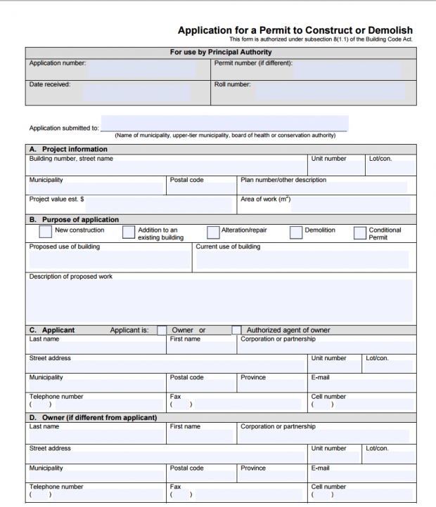 Mississauga Renovation Permit Form