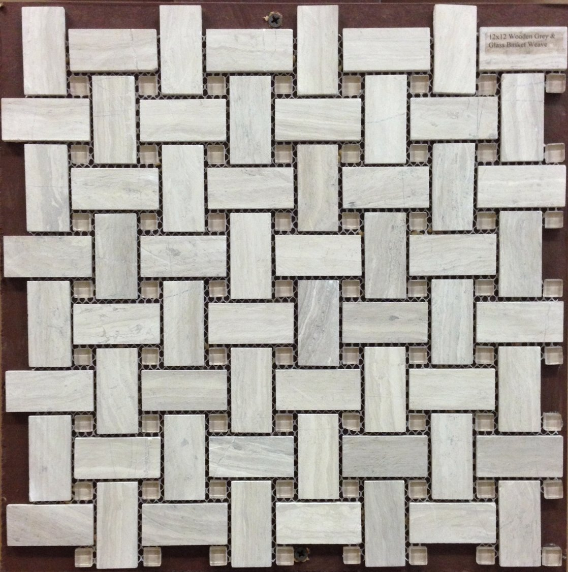 Basket Weave Tile Wooden Grey Marble