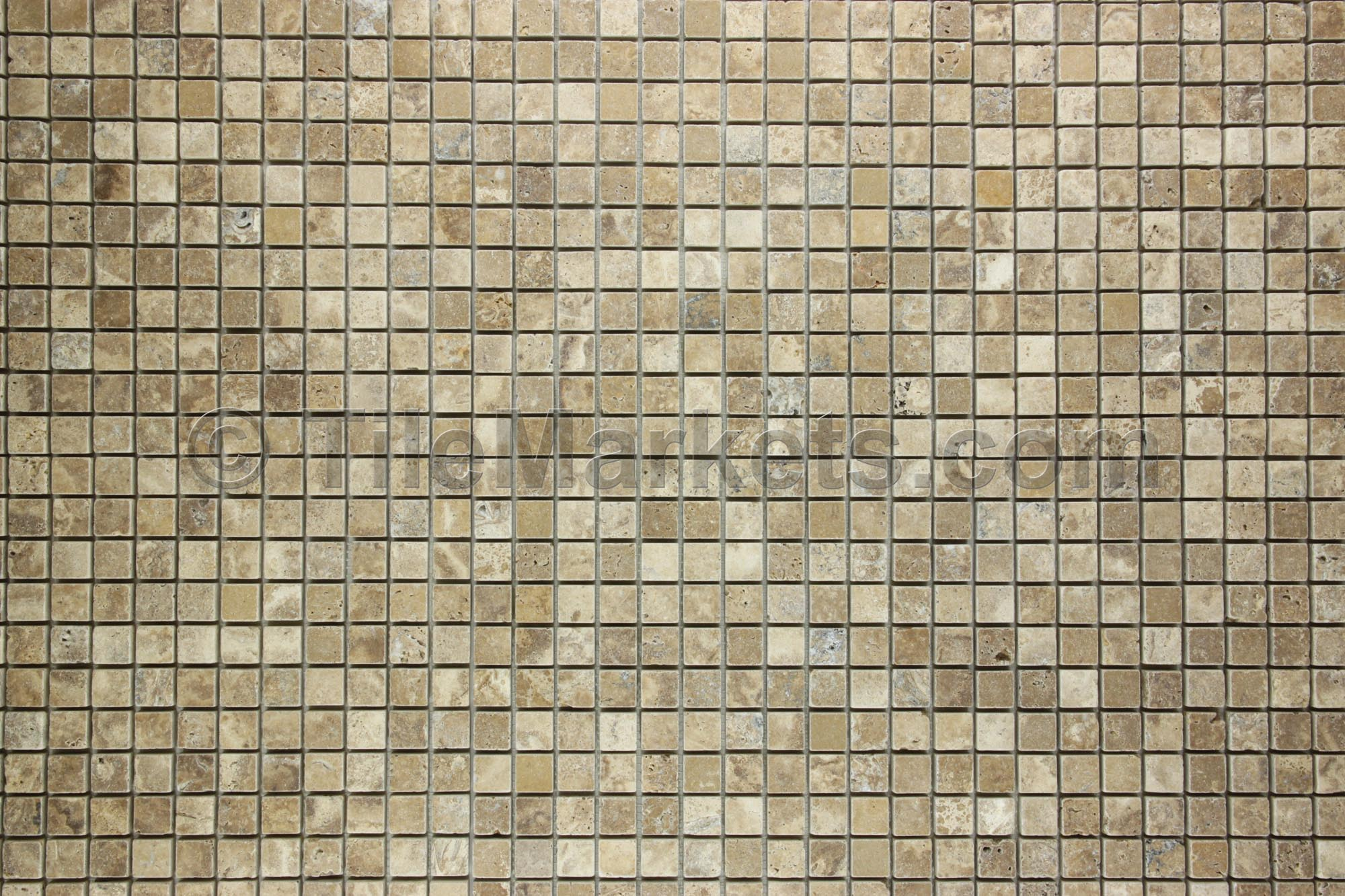 Travertine Mosaic Backsplash Noce 1x1 Tumbled