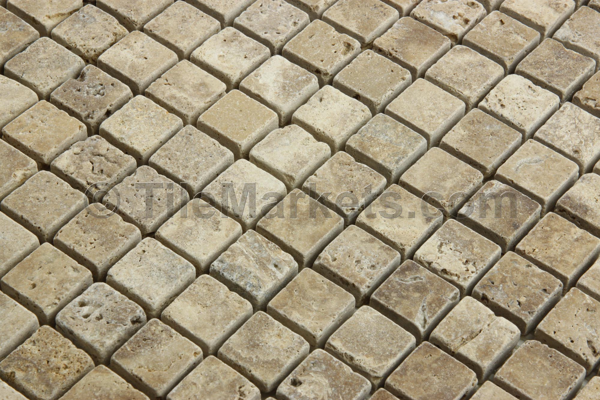 Travertine Mosaic Noce 1x1 Tumbled Tilemarkets 174