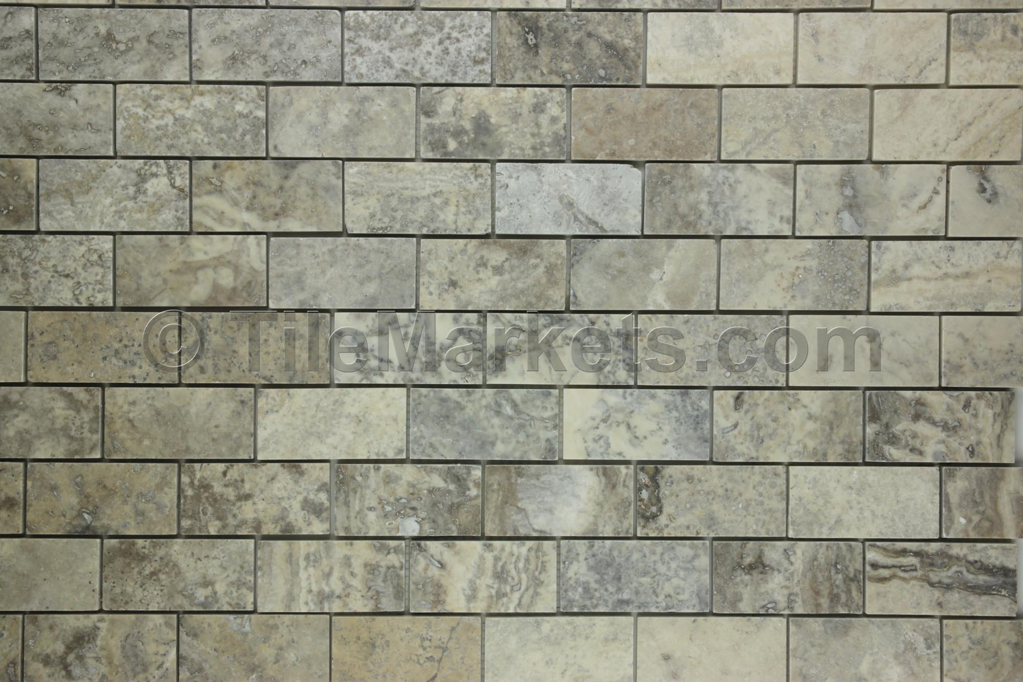 Travertine Subway Tile Silver 2x4 Tilemarkets