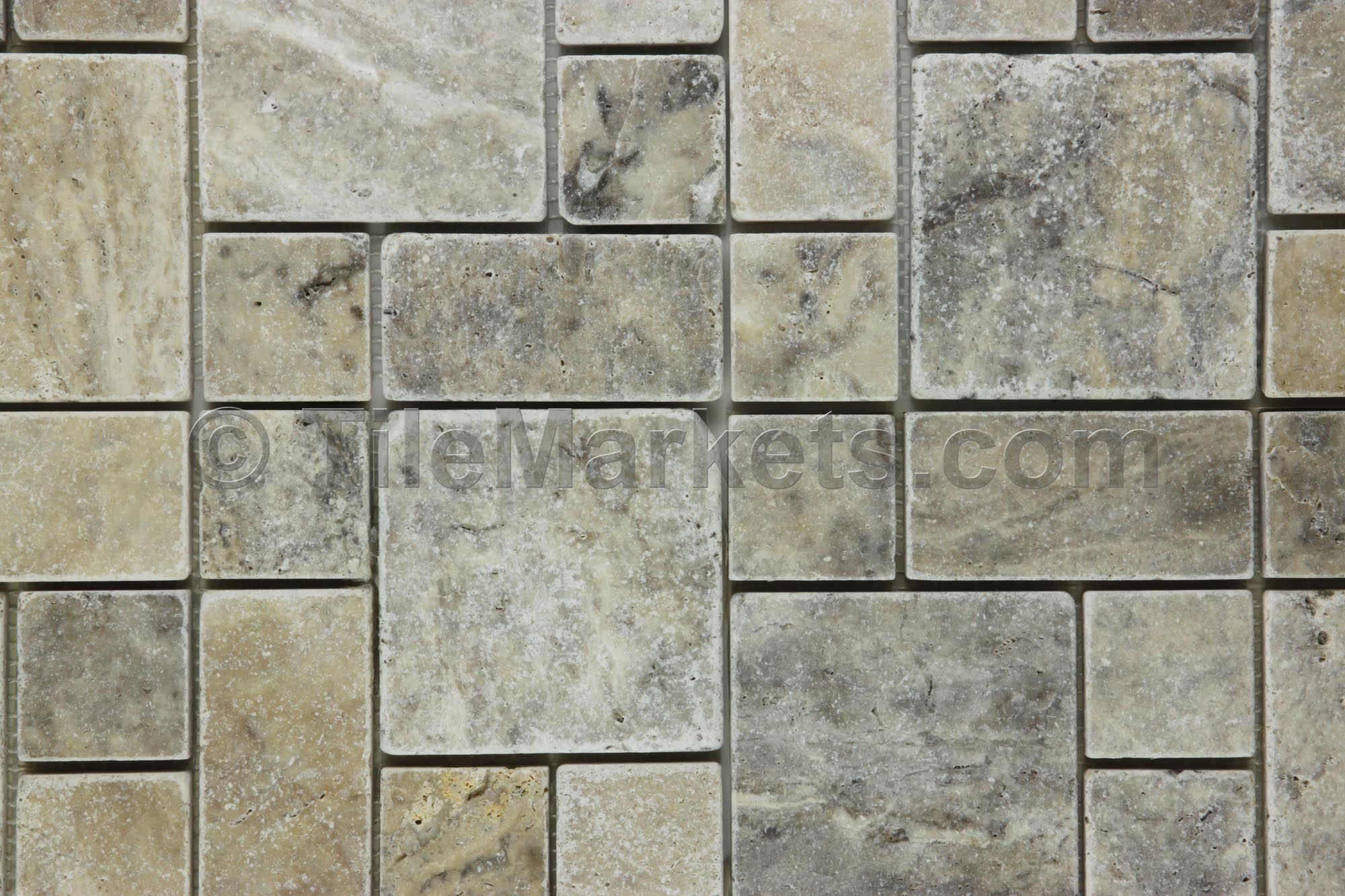 Travertine Mosaic Silver Roman Pattern